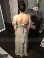 V-neck Floor-Length Chiffon Bridesmaid Dress With Bow(s) Split Front Cascading Ruffles (266209919)