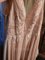 A-Line V-neck Floor-Length Chiffon Wedding Dress With Sequins (002207442)