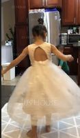 Tea-length Flower Girl Dress - Tulle Lace Sleeveless Scoop Neck With Beading Flower(s) (269201161)