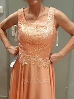 Scoop Neck Ankle-Length Chiffon Lace Mother of the Bride Dress (267238528)