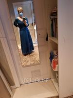 A-Line V-neck Ankle-Length Chiffon Lace Mother of the Bride Dress With Sequins Pleated (008179225)