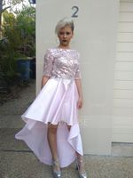 A-Line Scoop Neck Asymmetrical Satin Prom Dresses (018175931)