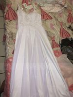 A-Line Sweetheart Sweep Train Chiffon Wedding Dress (002186396)