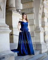A-Line Off-the-Shoulder Sweep Train Satin Evening Dress With Pockets (017186128)