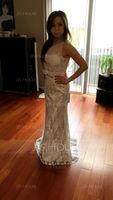 Trumpet/Mermaid Scoop Neck Sweep Train Lace Prom Dresses With Beading Sequins Bow(s) (018093861)