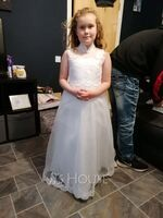 Ball-Gown/Princess Sweep Train Flower Girl Dress - Satin/Tulle Sleeveless High Neck With Beading/Appliques (010104991)