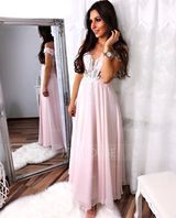 A-Line Off-the-Shoulder Floor-Length Chiffon Prom Dresses With Beading Sequins (018187221)