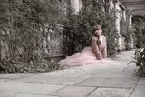 A-Line/Princess V-neck Sweep Train Tulle Evening Dress With Beading Sequins (017137357)