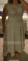 A-Line Scoop Neck Asymmetrical Chiffon Lace Mother of the Bride Dress With Beading (008217305)