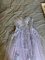 A-Line Square Neckline Floor-Length Tulle Prom Dresses With Sequins Split Front (018224390)