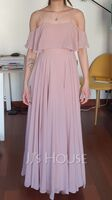 A-Line Off-the-Shoulder Floor-Length Chiffon Bridesmaid Dress (007176732)