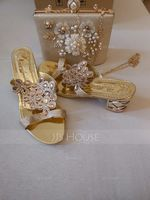 Women's PU Chunky Heel Sandals Slippers Heels With Rhinestone shoes (087236306)
