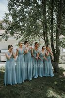 V-neck Floor-Length Chiffon Bridesmaid Dress (266213420)