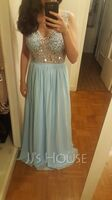 A-Line V-neck Floor-Length Chiffon Prom Dresses With Beading Sequins Split Front (018220260)