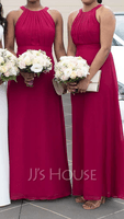 A-Line/Princess Scoop Neck Floor-Length Chiffon Bridesmaid Dress With Ruffle (266177094)