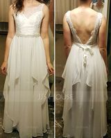 A-Line Illusion Floor-Length Chiffon Wedding Dress With Cascading Ruffles (002119799)