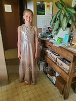 A-Line Scoop Neck Floor-Length Sequined Junior Bridesmaid Dress (009191731)