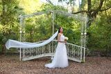 A-Line Sweetheart Sweep Train Tulle Wedding Dress With Bow(s) (002171927)