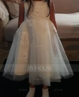 Knee-length Flower Girl Dress - Satin Tulle Lace Cotton Sleeveless Scoop Neck With Appliques (269210232)