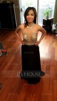 A-Line/Princess Scoop Neck Floor-Length Chiffon Prom Dresses With Beading Sequins (018107789)