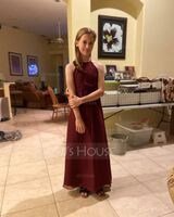 A-Line Scoop Neck Floor-Length Chiffon Junior Bridesmaid Dress With Ruffle (009217832)