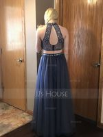 A-Line/Princess Scoop Neck Floor-Length Tulle Prom Dresses With Beading (018138330)