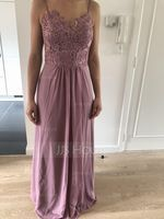 Sweetheart Floor-Length Chiffon Lace Bridesmaid Dress (266236765)
