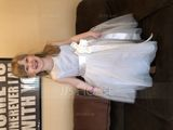 A-Line Tea-length Flower Girl Dress - Satin/Tulle Sleeveless Scoop Neck With Flower(s) (010153213)