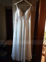 V-neck Floor-Length Chiffon Prom Dresses With Beading (272207481)
