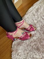 Women's Sparkling Glitter Heels Sandals Pumps Latin With Ankle Strap Hollow-out Sequin Dance Shoes (053102751)