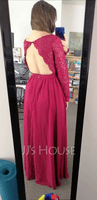 A-Line V-neck Floor-Length Chiffon Prom Dresses With Lace (018250199)