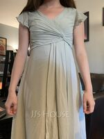 A-Line V-neck Floor-Length Bridesmaid Dress With Ruffle Split Front (007254655)