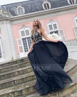 A-Line High Neck Floor-Length Chiffon Evening Dress With Beading (017208784)