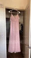 A-Line V-neck Floor-Length Chiffon Bridesmaid Dress With Ruffle (266251840)