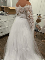 Off-the-Shoulder Chapel Train Tulle Lace Wedding Dress (265236050)
