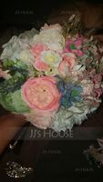 Round Satin/Silk Bridal Bouquets (Sold in a single piece) - (123140194)