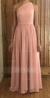 One-Shoulder Floor-Length Chiffon Bridesmaid Dress (266213292)