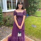 A-Line Off-the-Shoulder Sweep Train Tulle Prom Dresses With Sequins (018157176)