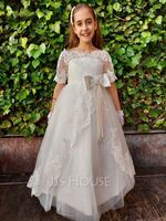 A-Line Floor-length Pageant Dresses - Satin/Lace 1/2 Sleeves Off-the-Shoulder With Appliques (010130850)