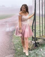 A-Line Off-the-Shoulder Short/Mini Tulle Prom Dresses With Beading Sequins (018230675)