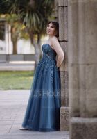 A-Line Sweetheart Floor-Length Tulle Prom Dresses With Sequins (018224407)