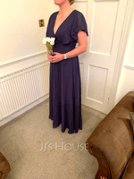 A-Line V-neck Floor-Length Bridesmaid Dress (266255907)