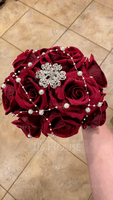 Sweet Round Satin/Silk Bridal Bouquets (123069397)