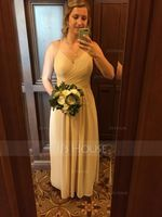 A-Line/Princess V-neck Floor-Length Chiffon Bridesmaid Dress With Ruffle (266177834)