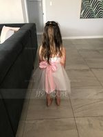 A-Line/Princess Square Neckline Knee-Length Tulle Junior Bridesmaid Dress With Sash Bow(s) (009126273)