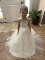 Ball-Gown/Princess Floor-length Flower Girl Dress - Satin Tulle Lace Sleeveless Scoop Neck With Beading (269258109)