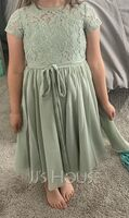 Scoop Neck Knee-Length Chiffon Lace Junior Bridesmaid Dress With Bow(s) (268260251)