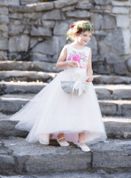 Asymmetrical Flower Girl Dress - Satin Tulle Sleeveless Scoop Neck With Flower(s) Bow(s) V Back (269240809)