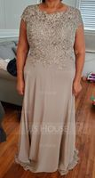 Scoop Neck Floor-Length Chiffon Lace Mother of the Bride Dress (267213730)