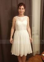 Scoop Neck Knee-Length Chiffon Lace Bridesmaid Dress (266213513)